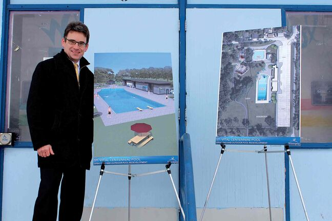 Coun. Brian Mayes (St. Vital) at St. Vital Outdoor Centennial Pool at a recent announcement that the facility will receive a $3 million makeover.