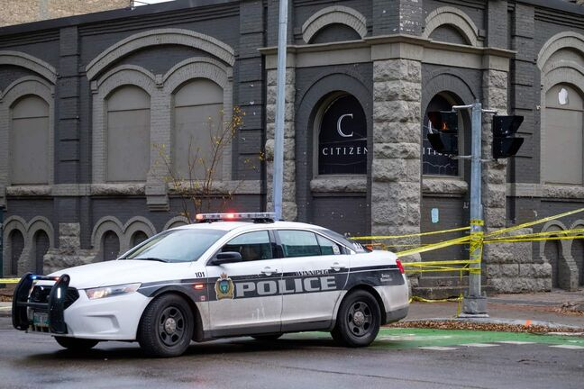 Daniel Crump / Winnipeg Free Press. Police have shutdown a section of Princess Street around Citizen Nightclub in the Exchange District as they investigate yet another homicide in the city. November 2, 2019.