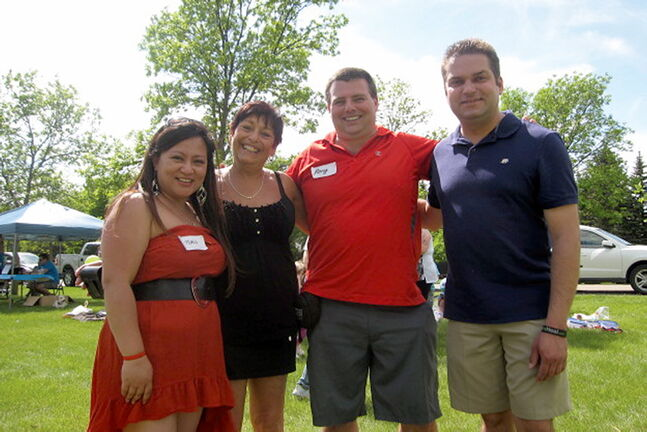 Maria Sanchez, River East MLA Bonnie Mitchelson, Rory McDonnell and city Coun. Jeff Browaty (North Kildonan) at the Won't You Be My Neighbour Family Fun Day, which McDonnell and Sanchez organized.