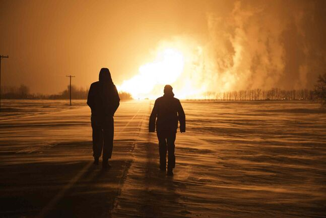 A TransCanada natural gas pipeline exploded between Otterburne and Highway 59 in southeastern Manitoba around 1 a.m. Saturday, Jan. 25.