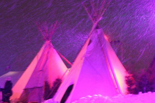 Teepees provide shelter at the festival.