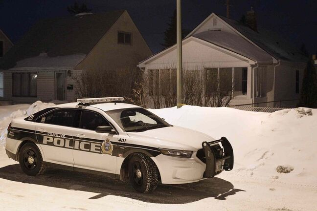 Police were investigating at 611 Harbison Ave. East in Winnipeg Sunday. There were reports that a male was found dead in the backyard.
