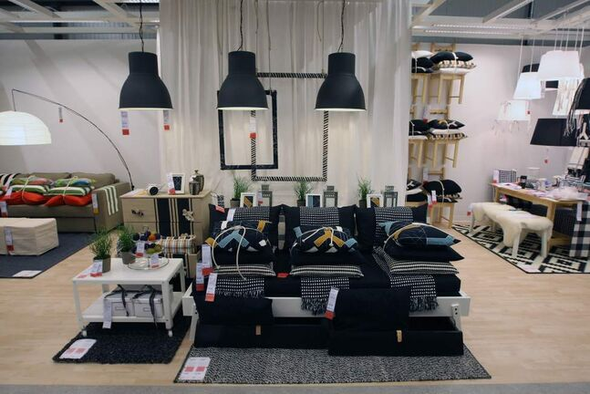 Ikea fabric display.
