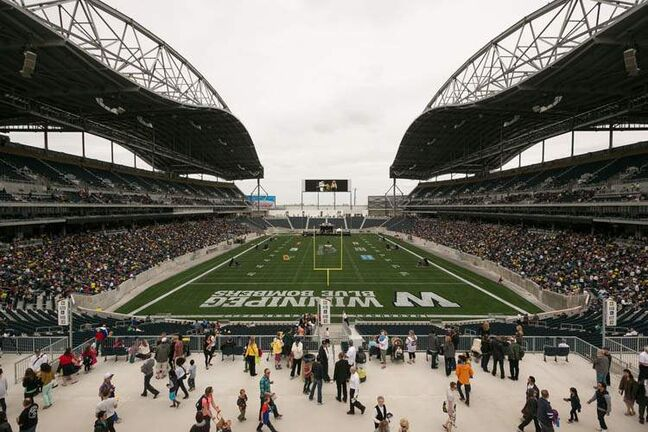 Investors Group Field nearly fills up Sunday afternoon as thousands attend the One Heart celebration — the first event held at the new stadium.