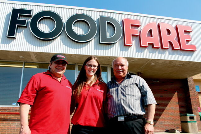 From left: Darcy Drall, meat counter manager; Heather Reid, store manager; and Moe Zeid, store owner stand outside of the Food Fare location at 839 Cavalier Dr.