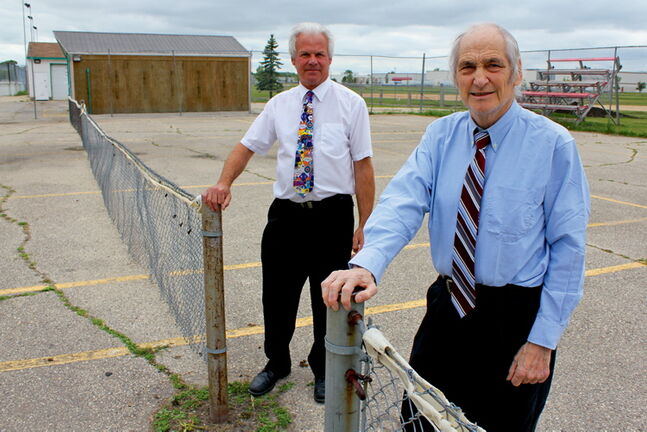 Northwood Community Centre premises manager Curtis Kazuk and past president George Vanderlip say the club needs to fundraise $125,000 to fix its tennis courts.