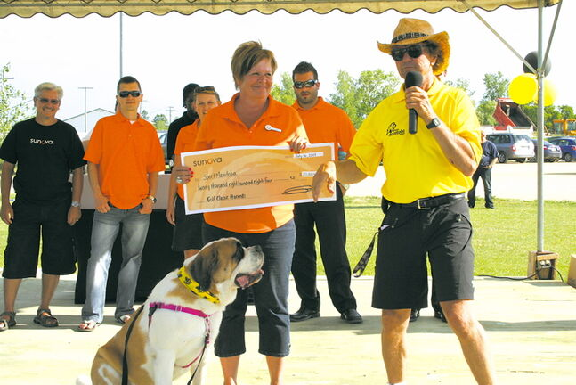Sunova Credit Union presented a cheque for $20,884 to Team Manitoba at a pep rally at Grand Prix Amusements on July 16.The money was raised at the 8th Annual Sunova Golf Classic on July 16.