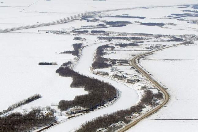 Aerial photo of the Red River north of Morris, April 10, 2013.
