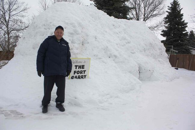 North Kildonan resident Garry Bochinski is shown in front of his quinzhee, The Fort Garry.