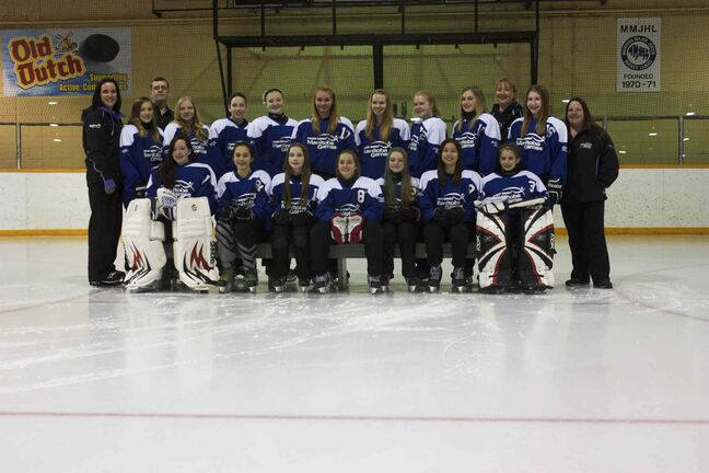 The Winnipeg East ringette team is shown before practice at Roland Michener Arena on Feb. 22.
