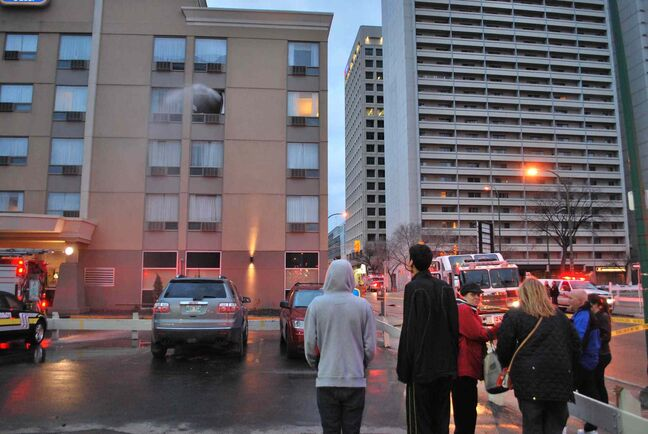 Reader Ron Boss captured water being sprayed from a suite where a fire started at the Charter House hotel this morning.