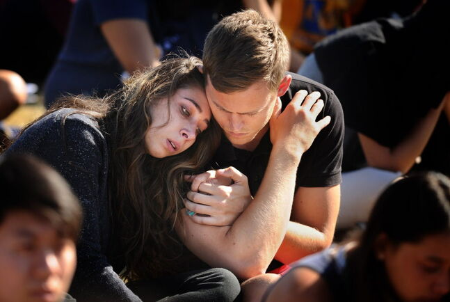 University of California at Santa Barbara students at a memorial service for six students slain by Elliot Rodger.