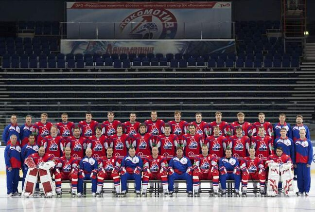 In this Sunday, Aug. 21, 2011 photo the Lokomotiv ice team poses in the Lokomotiv Arena in the city of Yaroslavl, located on the Volga River about 240 kilometres northeast of Moscow, Russia.