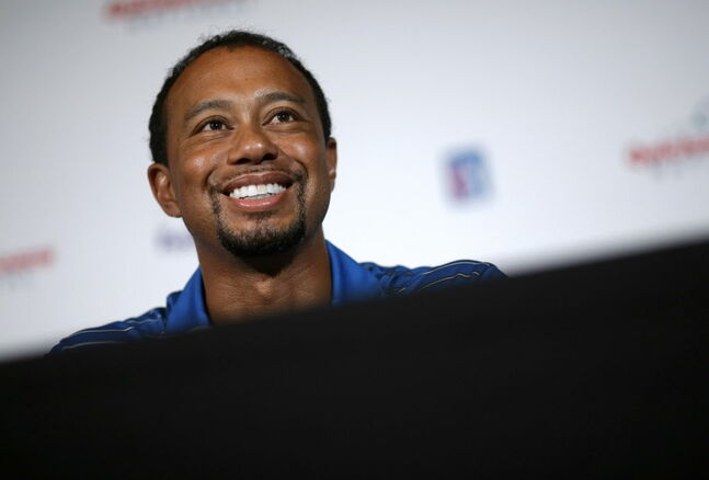 Tiger Woods talks about his upcoming June charity event at Congressional Country Club in Bethesda, Md.