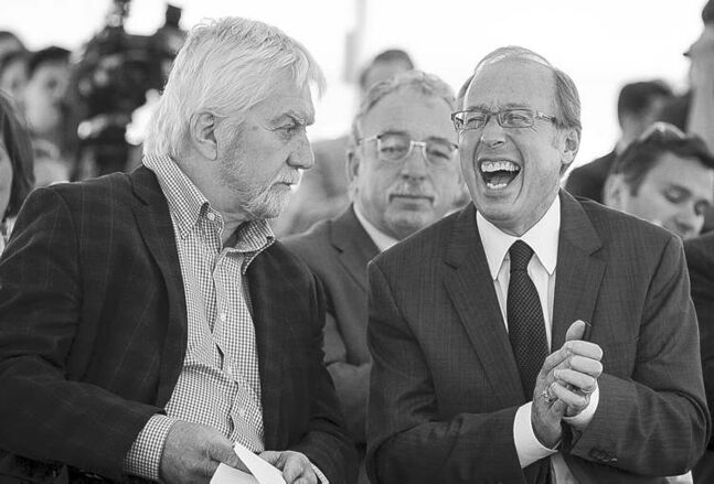Mayor Sam Katz enjoys a laugh with CentreVenture chief Ross McGowan on May 22.