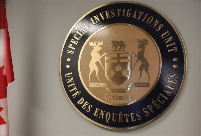 The emblem of Ontario's Special Investigations Unit is seen in headquarters in Mississauga, Ont., on Sept. 27, 2013. THE CANADIAN PRESS/Colin Perkel