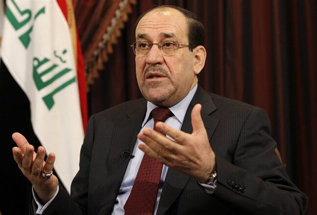 FILE - This Dec. 3, 2011 file photo shows Iraq's Shiite Prime Minister Nouri al-Maliki talks during an interview with The Associated Press in Baghdad, Iraq. The prospect of the U.S. military returning to the fight in Iraq has turned congressional hawks into doves. Lawmakers who eagerly voted to authorize military force 12 years ago to oust Saddam Hussein and destroy weapons of mass destruction that were never found now harbor doubts that air strikes will turn back insurgents threatening Prime Minister Nouri al-Maliki's government and Baghdad. (AP Photo/Hadi Mizban, File)