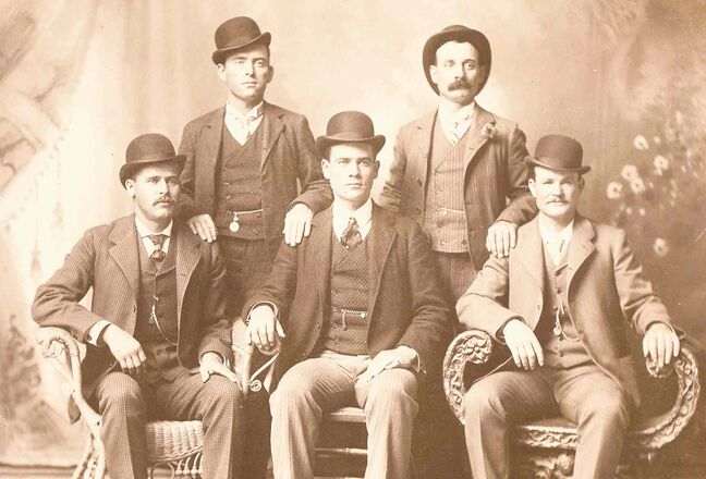 The Fort Worth Five: from left, Harry Alonzo Longabaugh (The Sundance Kid), William (News) Carver, Benjamin (The Tall Texan) Kilpatrick,  Harvey (Kid Curry) Logan and Robert Leroy Parker (Butch Cassidy).
