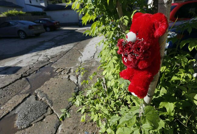 A small child's stuffed toy marks the spot where a three-year-old child was struck by a car and later died. The incident occurred in the lane on Toronto Street near Notre Dame Avenue.