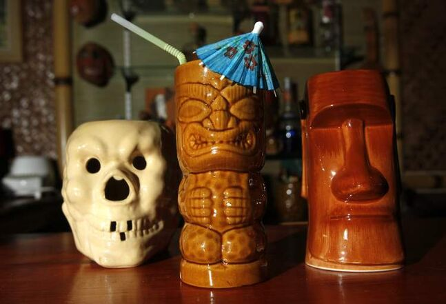 A few mugs in Ron and Lesley's Tiki lounge. These are a few of their mugs. Dave Sanderson story.