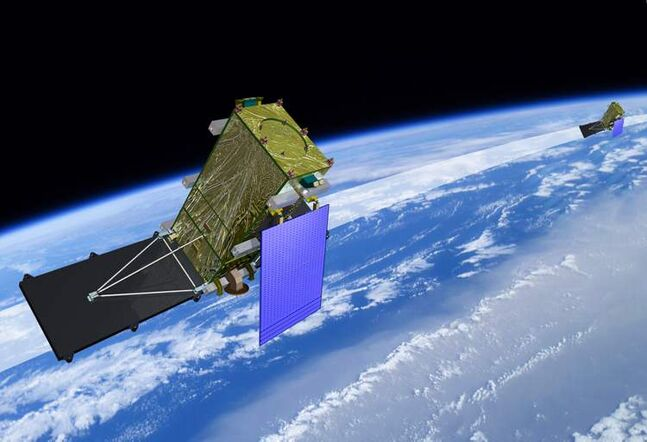 An artist's rendering shows the RadarSat Constellation Mission (RCM), depicting two of the three satellites in orbit.
