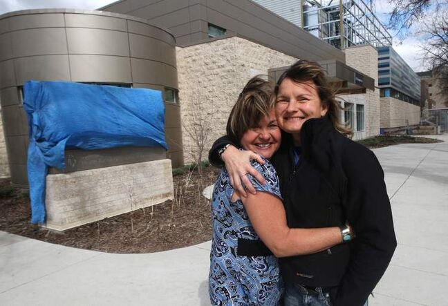 Lisa and Lynda Shaw in front of the new Bannatyne Avenue facility, which will have a maximum waiting time of 15 minutes for mental-health patients.