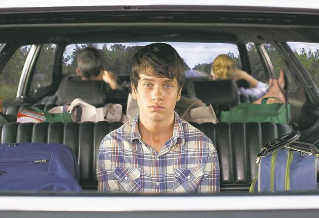 As listless teen Duncan, Liam James is stuck in the way, way back seat; above