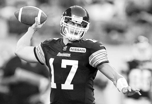 Toronto Argonaut quarterback Zach Collaros in action Tuesday.