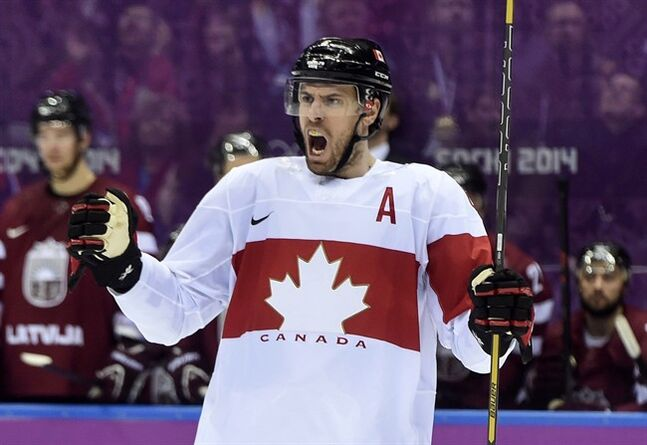 Canada's Shea Weber celebrates his goal against Latvia during third period quarter-final hockey action at the Sochi Winter Olympics Wednesday, February 19, 2014 in Sochi. THE CANADIAN PRESS/Paul Chiasson