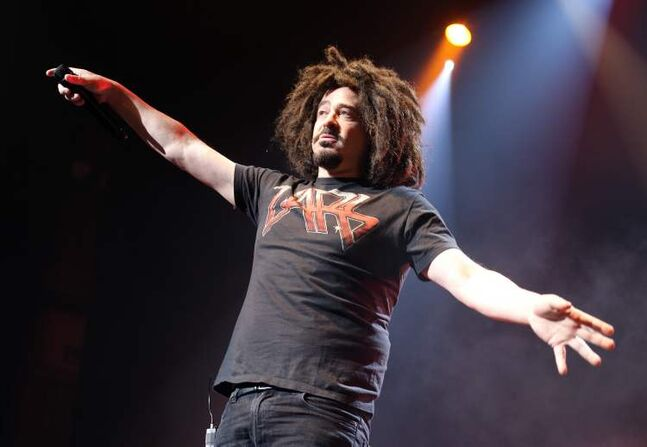 Counting Crows lead singer Adam Duritz gets some audience participation happening.