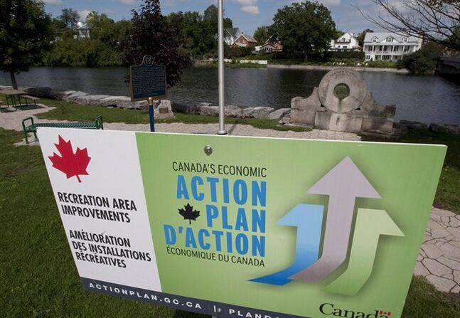 An Economic Action plan sign is pictured in Mississippi Mills, Ont., on August 23, 2010. A federal TV ad campaign last year promoting new job grants was pitched to young males, even though the grants are available to both men and women. THE CANADIAN PRESS/Adrian Wyld
