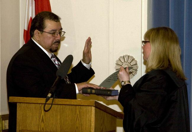 Frank Whitehead, MLA for The Pas, was sworn in in 2009.