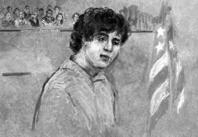 Dzhokhar Tsarnaev, seen in this courtroom sketch, was nonchalant during Wednesday's hearing in Boston.