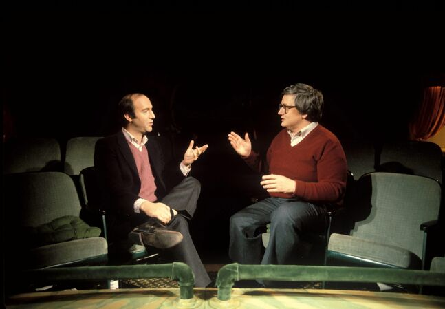 This undated photo released by Magnolia Pictures shows film critics Gene Siskel, left, and Roger Ebert used in the documentary