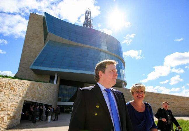 Iceland Prime Minister Sigmundur Gunnlaugsson tours the Canadian Museum for Human Rights on Friday, before heading to Gimli to attend the Icelandic Festival.