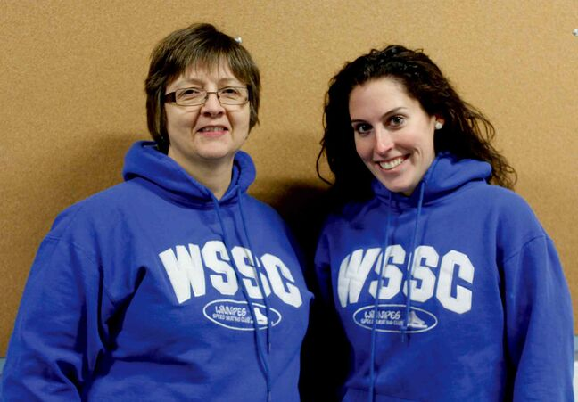 Winnipeg Speed Skating Club president Silvia McInnes (left) and coach Andrea Olmstead.