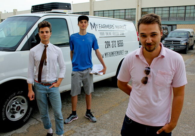 Nathan Steele (right), along with brother Josiah Koppanyi (left) and delivery driver Mitch Toews (centre), launched their online grocery store MyFarmersMarket.com on July 3.