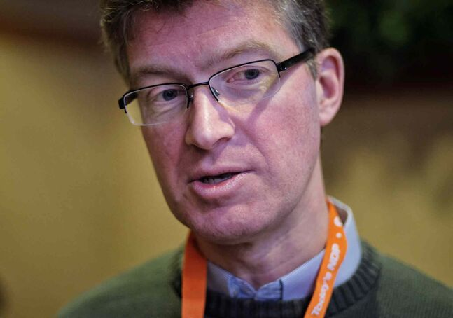 Justice Minister Andrew Swan at the NDP Convention Sunday.