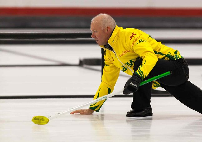 Glenn Howard follows through on a delivery.