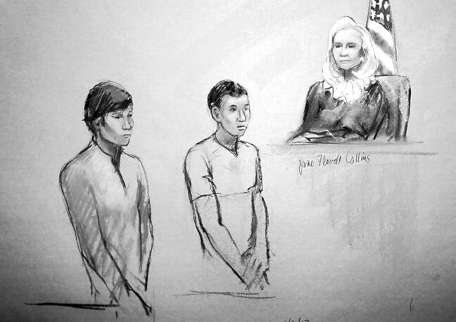 This courtroom sketch shows defendants Dias Kadyrbayev (left) and Azamat Tazhayakov appearing in front of  federal magistrate Marianne Bowler at the Moakley Federal Courthouse in Boston, Wednesday.