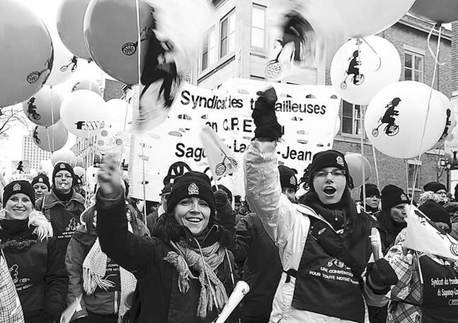 Daycare workers strike in Montreal in February 2012.