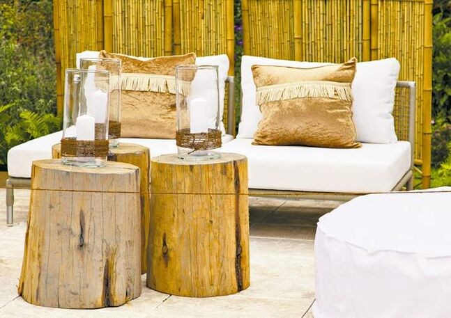 This seating area is cozy with a rustic touch.