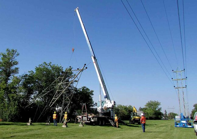 Hydro towers in the North Kildonan area are being removed and replaced as part of the Pointe du Bois Spillway replacement project.