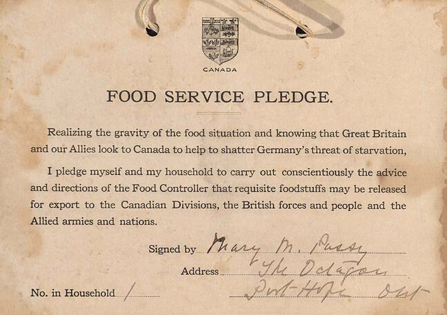 A second card says: 'Hang your pledge by a cord or a ribbon in the dining room where your household can see it daily.' And it also urges households to 'Place your Win-the-War card prominently in your window where the public can see it and where the members of the household can read the imperative reasons for food saving set forth on the back.'