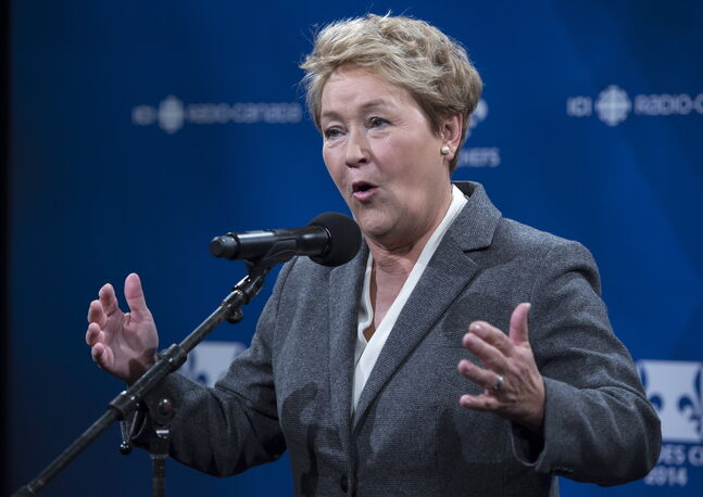 PQ leader Pauline Marois responds to a question following the leaders' debate Thursday, Thursday, March 20, 2014 in Montreal.