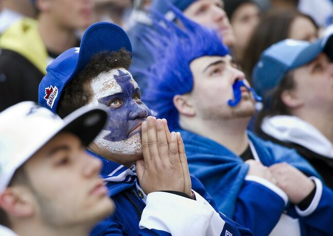 Toronto Maple Leafs fans at Maple Leafs Square in Toronto look worried after Boston opens the scoring in the first period.
