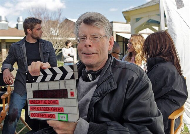 Stephen King is pictured on the set of