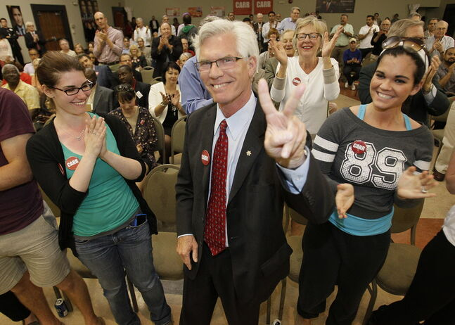 Jim Carr celebrates after winning the Winnipeg South Centre Liberal nomination Monday night.