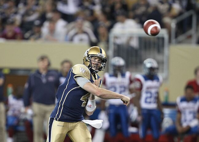 Winnipeg Blue Bombers quarterback Buck Pierce throws the ball during the third quarter.