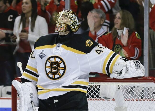 Boston Bruins goalie Tuukka Rask (40) reacts after a second period Chicago Blackhawk goal during Game 5 of the NHL hockey Stanley Cup Finals, Saturday, June 22, 2013, in Chicago. (AP Photo/Nam Y. Huh)